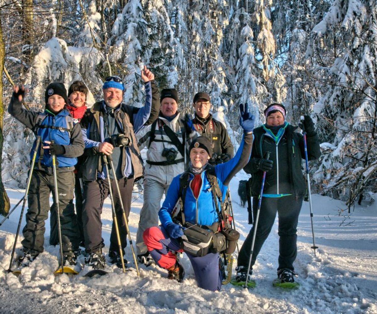 """""""Jäger des Lichts"""" unterwegs mit Schneeschuhen von Altenschneeberg zum Frauenstein"""